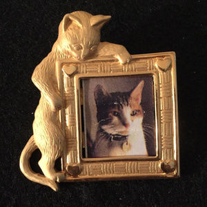 vintage JJ J.J. gold cat brooch pin picture frame